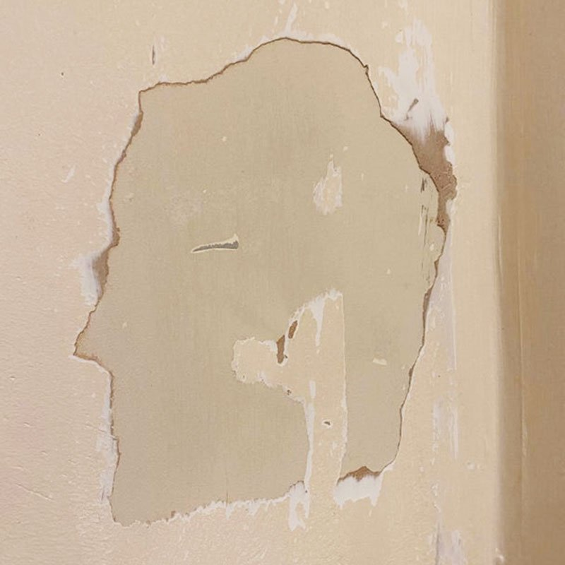 Repaired wall plaster