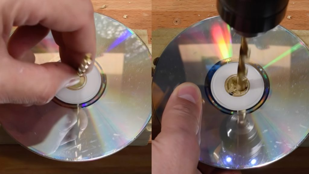 Using CD to drill straight holes in wood