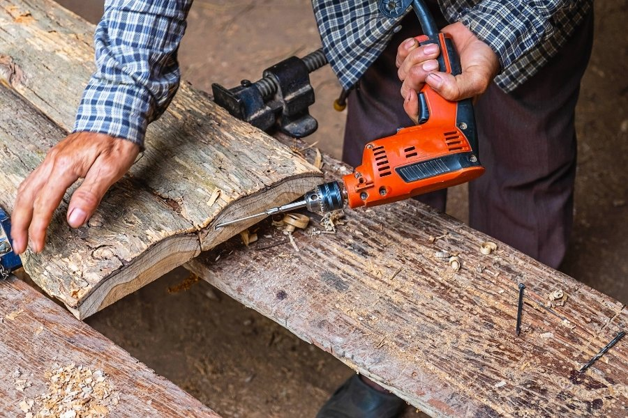 How to drill wood at an angle