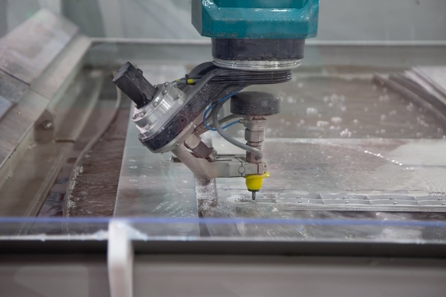 waterjet drilling hole in tempered glass