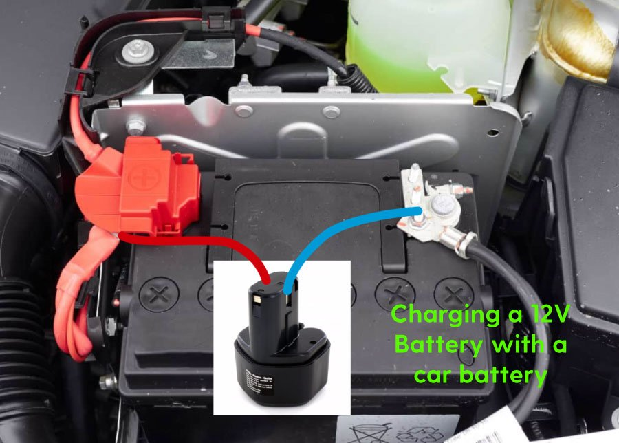 Charging cordless drill battery with car battery